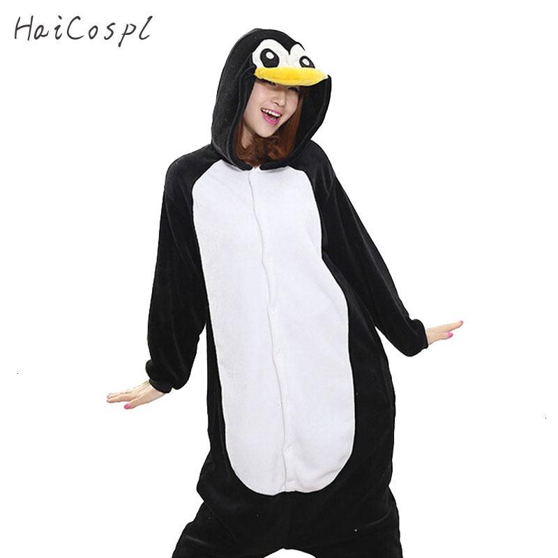 Kigurumi Penguin Onesie Women Pajama Adult Whole Animal Cosplay Costume Sleepsuit Flannel Mascot Party Winter Warm SleepwearMX190923