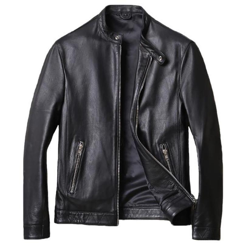 Ucuz Fiyat Basit Retro Erkekler Gerçek Sheepskin Deri Ceket Plus Size 5XL Kore Stili İnsanın Gerçek Deri ceketler Bahar A797