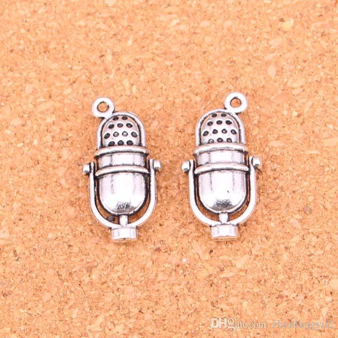 41pcs Charms retro vintage mircophone Antique Silver Plated Pendants Making DIY Handmade Tibetan Silver Jewelry 26*13mm