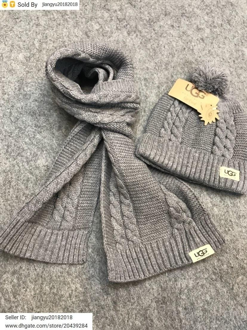 Christmas Gift New Quality Woolen Scarf Hat Men Cashmere wool Fox hair ball hat 2pc 527075 3HD87 6400 015 With Box