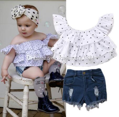 Neonato Bambino Bambini vestiti della ragazza fuori dalla spalla increspature Dot Camicie Top denim del foro dei pantaloni 2pcs Estate Bambini Nuovi Abiti Set