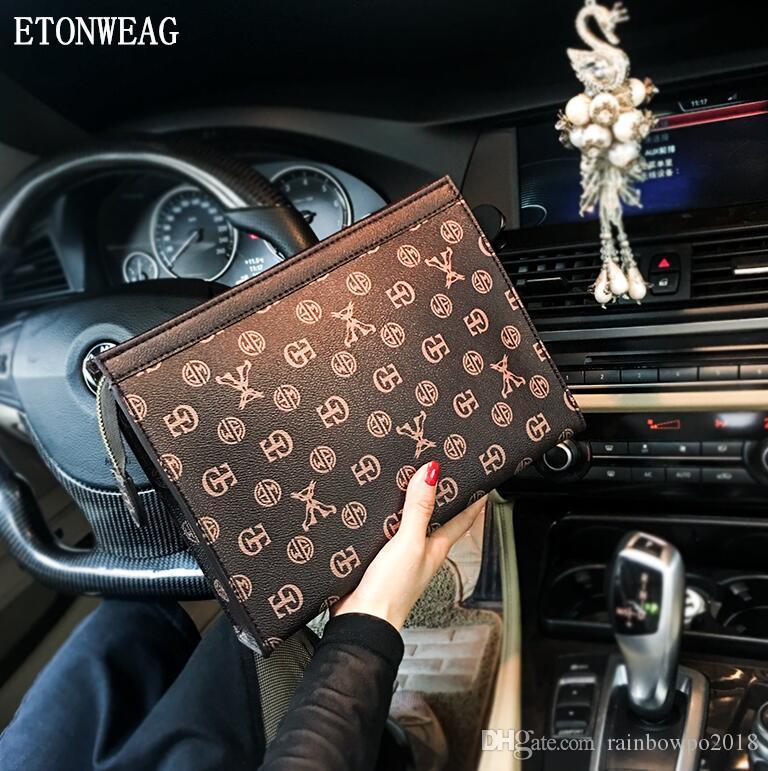 Factory wholesale men handbag exclusive custom fabric printed clutch classic business casual men envelope handbag classic printed leather fi