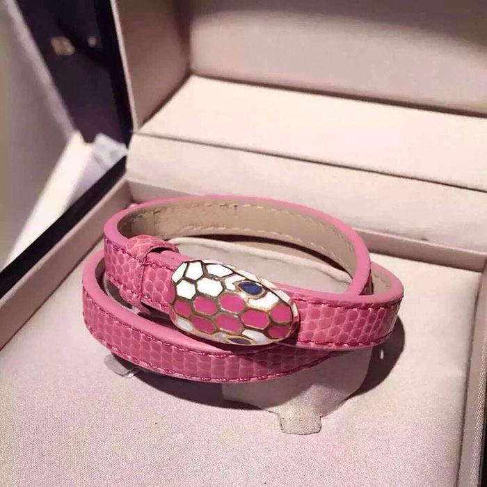 luxo designer de jóias mulheres pulseiras de alta qualidade de aço de titânio clássico A forma duplo círculo de cor PU cabeça da serpente queda oil7763 #