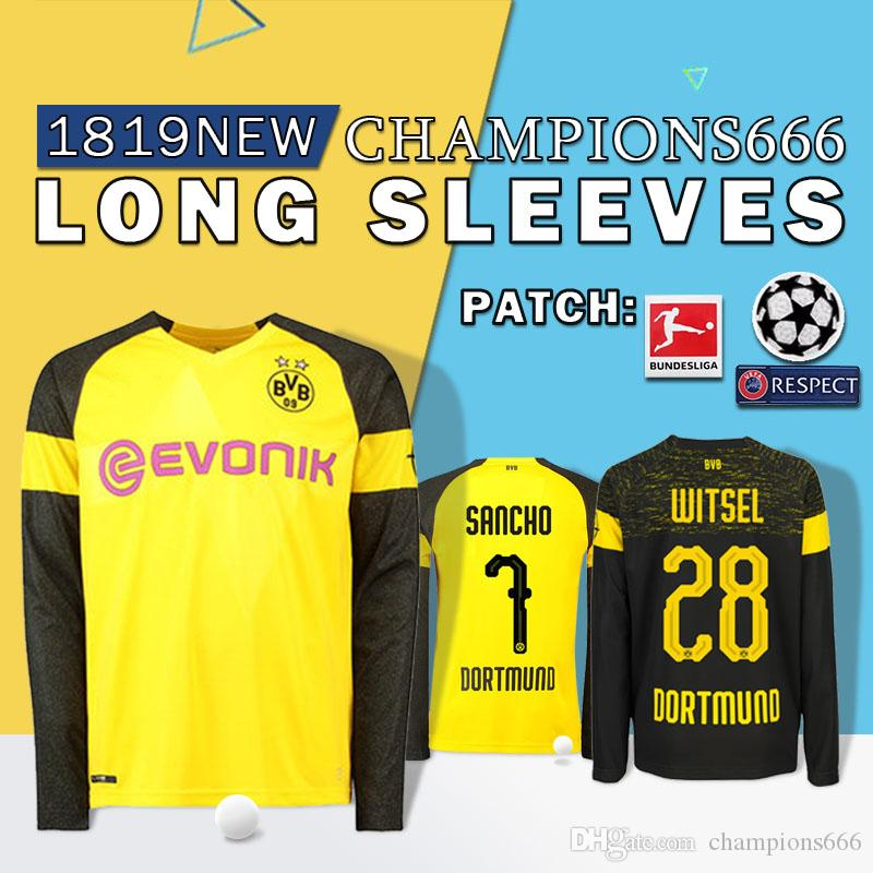 hot sale online a651c 0d6c1 2018 Quality BVB Long Sleeves Borussia Dortmund Soccer Jersey 19 PHILIPP  GOTZE REUS PULISIC WITSEL Jersey 18 19 PACO ALCACER Football Kit T Shirt  From ...