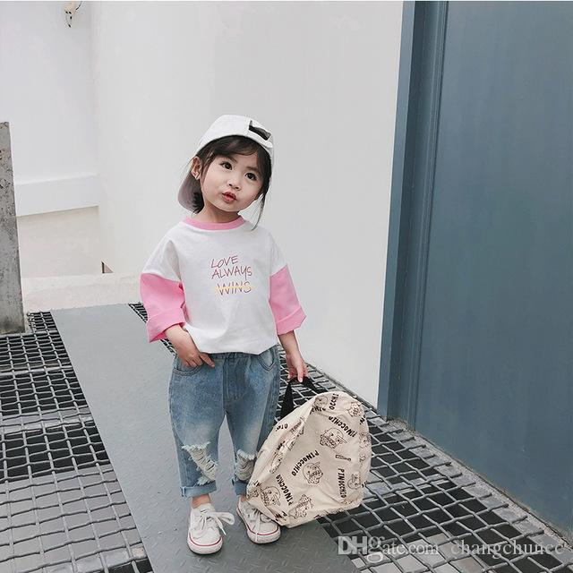 Girls Pants Casual Ripped Boys Jeans Elastic Waist 1 2 3 4 Y Kids Trousers Fashion Korean Toddler Girls Denim Pants New Arrival