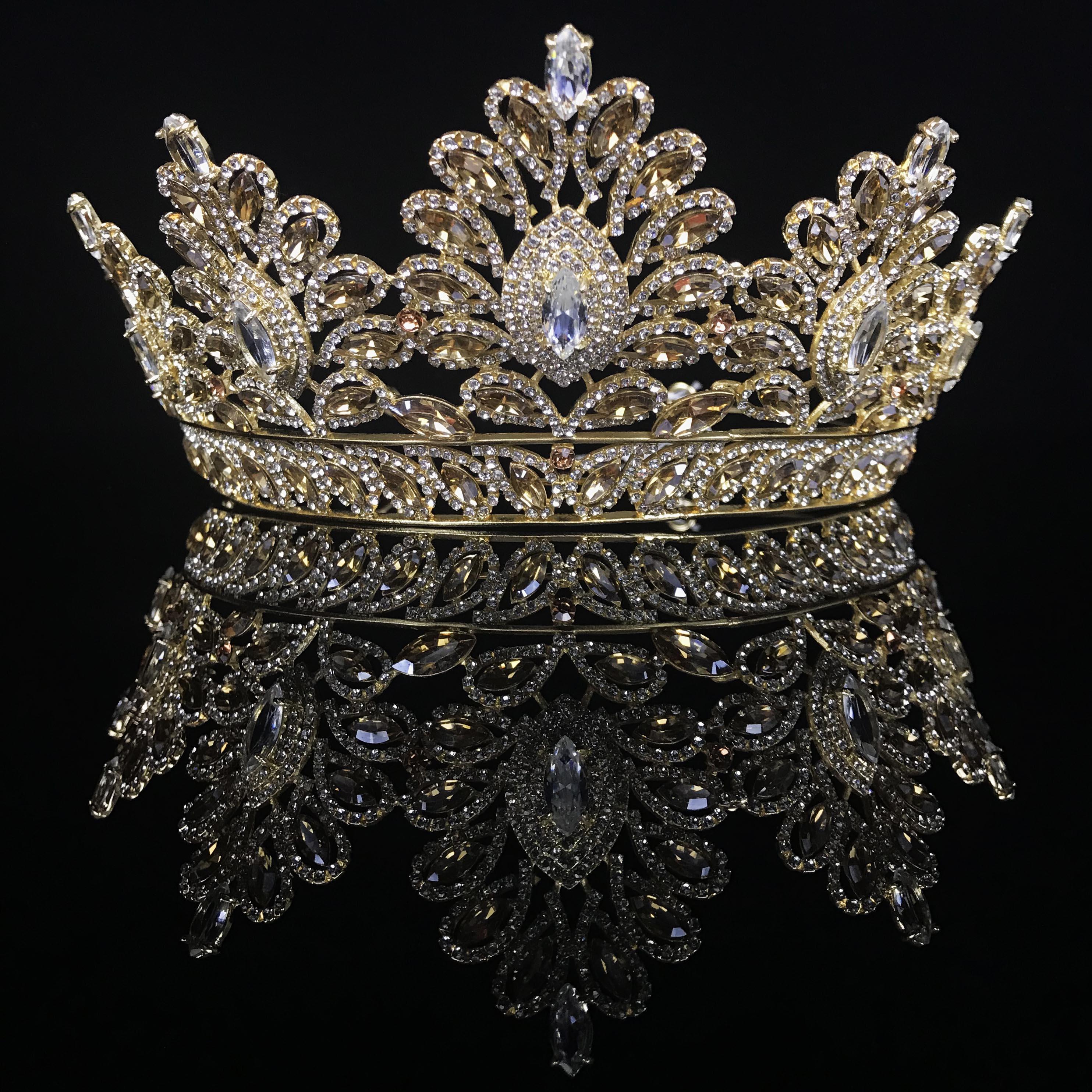 Yeni Lüks Kristaller Gelin Taçları Tiaras Kafa Düğün Kuyumcular Doğum Günü Partisi Prenses Taç Saç Dekorları Jewel Gelinler Takı