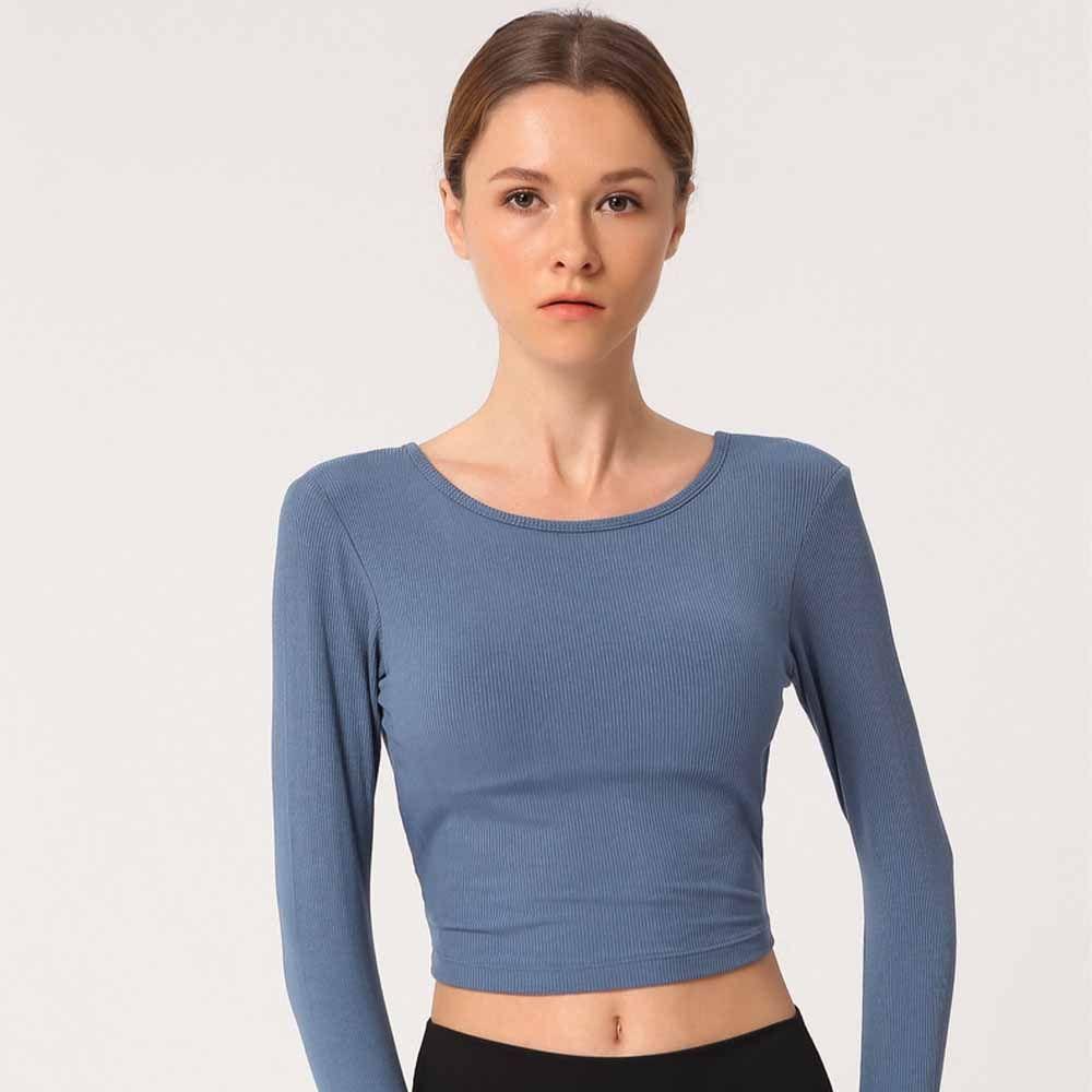 LU-28 nuevas mujeres de manga larga camiseta ropa deportiva de secado rápido cruz delgada camiseta deportiva Yoga fitness gimnasio ropa para correr con almohadilla para el pecho