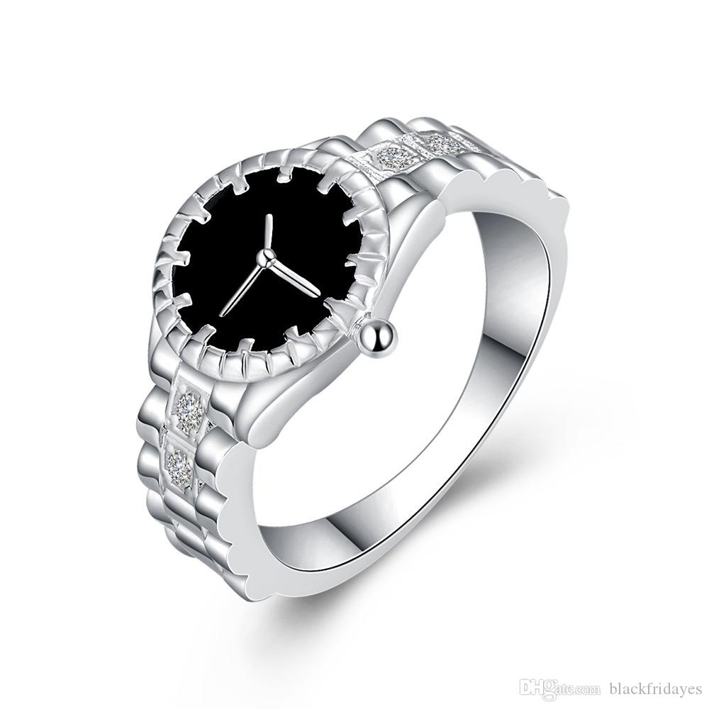 Fashion Women Mens Dial Quartz Analog Watch ring silver-plated jewelry luxury designer jewelry women rings promise ring