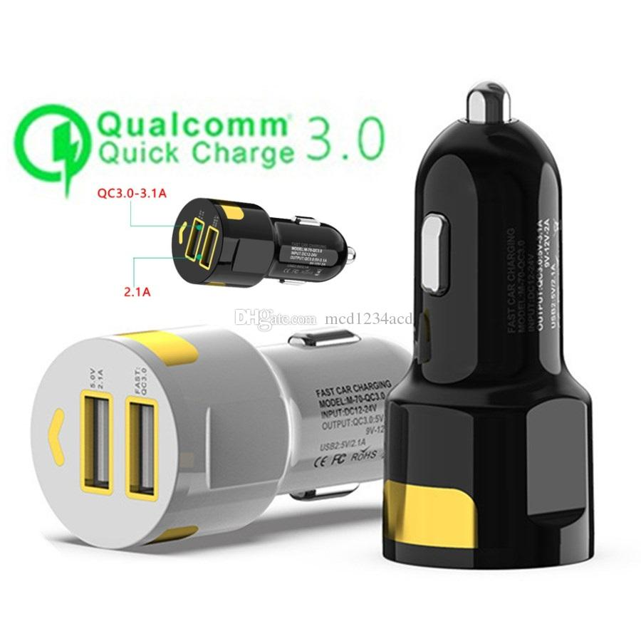 Universal Fast Quick Charger QC 3.0 Rapid Speed Dual Usb Ports Car Charger Adapter For Samsung Huawei android phone gps pc tablet