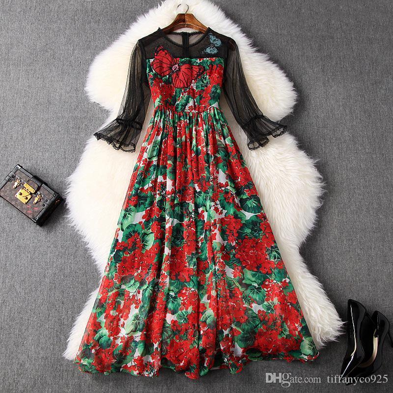 2020 весна лето Flare рукава вокруг шеи Цветочные печати Тюль Щитовые Блестки Mid-теленок платье вскользь платья LM0914T10654