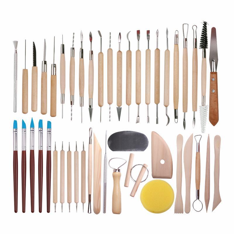 45 шт керамика глиняные скульптурные наборы инструментов для начинающих профессиональные художественные ремесла деревянная ручка моделирование керамические глиняные инструменты