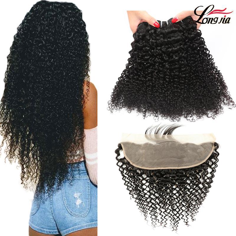 Perulu Saç Dokuma 3/4 Paketler ile Frontal Kapatma İşlenmemiş İnsan Saç Paketler ile Dantel Frontal Perulu kıvırcık insan saçı desteler