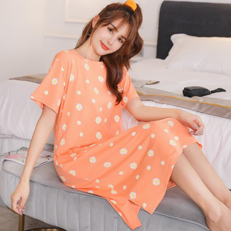 Robe d'été Mode maternité Imprimé en vrac chez les femmes enceintes coton robe à manches courtes O Col fendus Casual mi-longues