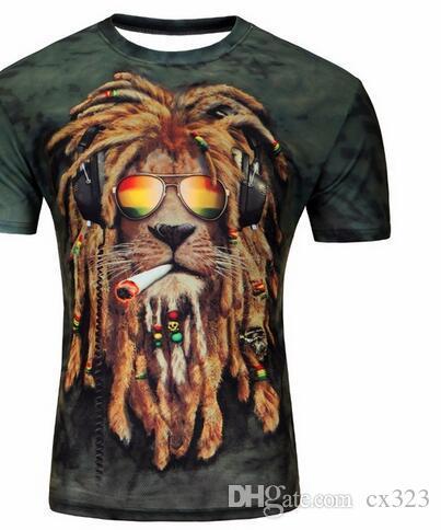2019 Yüksek Kalite aslan Hareket Baskılı 3D T-shirt Punk tarzı 3D Kısa Kollu T-Shirt M-4XL Likra pamuk erkek T-shirt serin