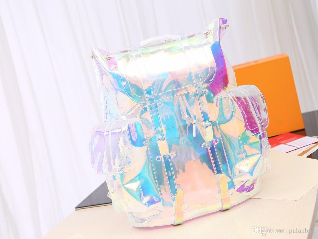 Designer homens do arco-íris Laser flash PVC Mochila transparente Duffle Bag Brilliant Color Mochilas bagagem Travel Bag Bandoleira Sacos De Ombro