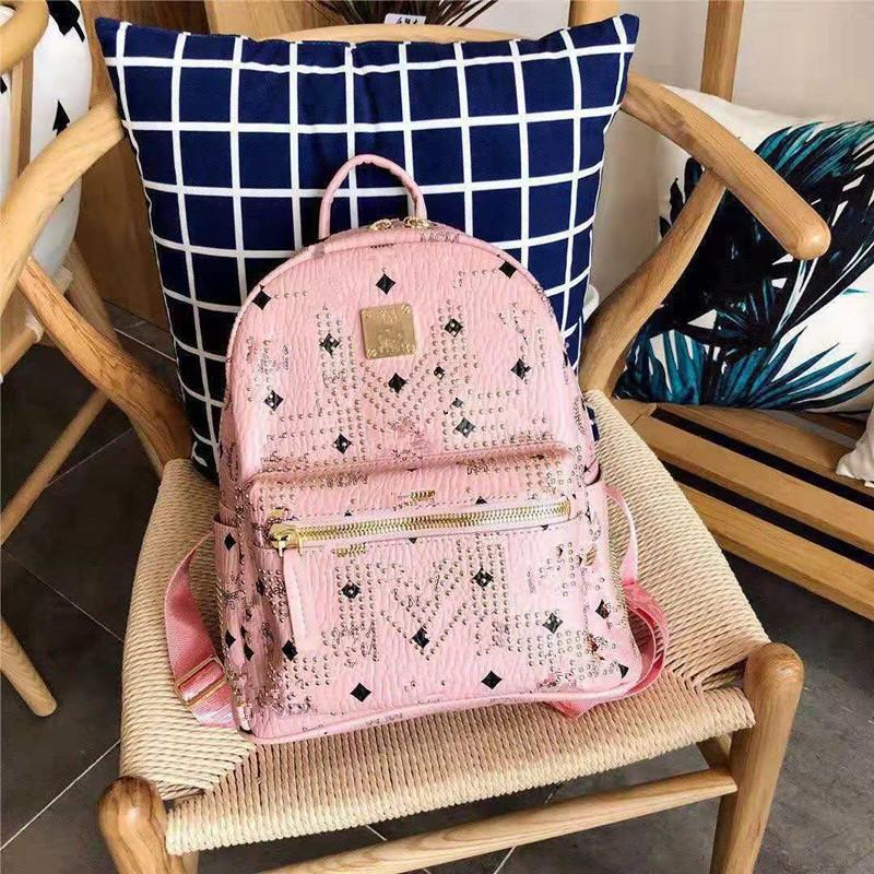 The New Bag Lady Handbags Backpack Women's Leather Han Edition Fashion Large Capacity Female Rivet Frills Backpack The Designer Handbag
