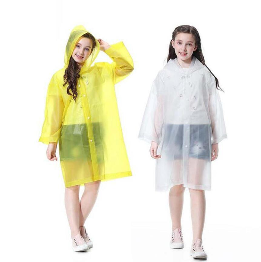 Şeffaf Çocuk Yağmurluk Boy Kız Çocuk Yağmurluk su geçirmez EVA Yağmur Kapak Panço Çocuk Rainwear LJJO7848