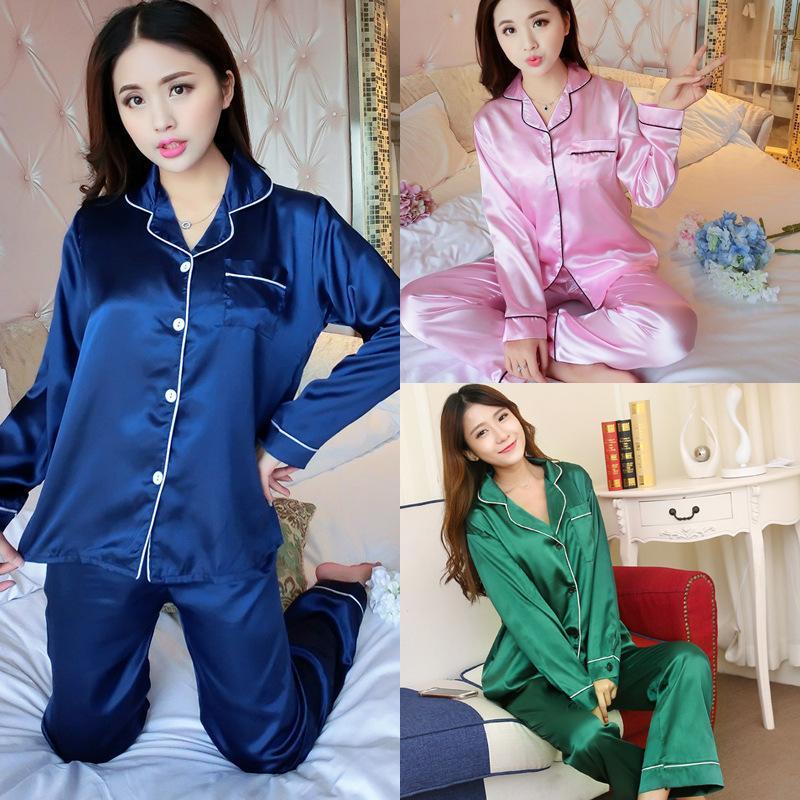 Outono Nova Cor Sólida Simulação Camisa De Lapela De Seda Calças Finas Pijamas Set Mulheres Pode Usar Moda Casual Sleepwear Confortável Y19042803