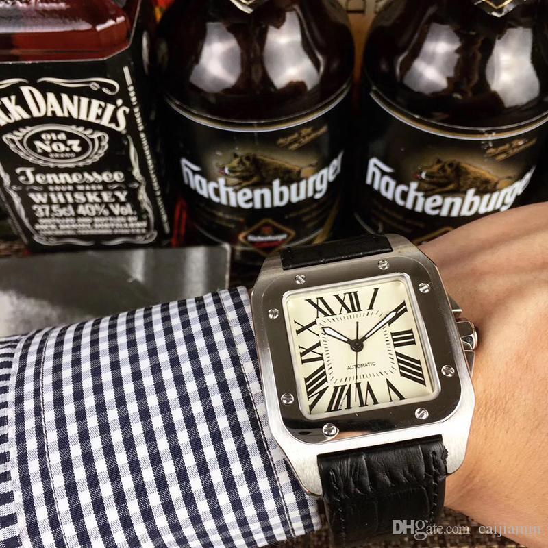 2019 горячий вахта 40 мм из нержавеющей стали часы кожаный ремешок автоматические движения случай мужские механические серебряные часы спортивные наручные часы