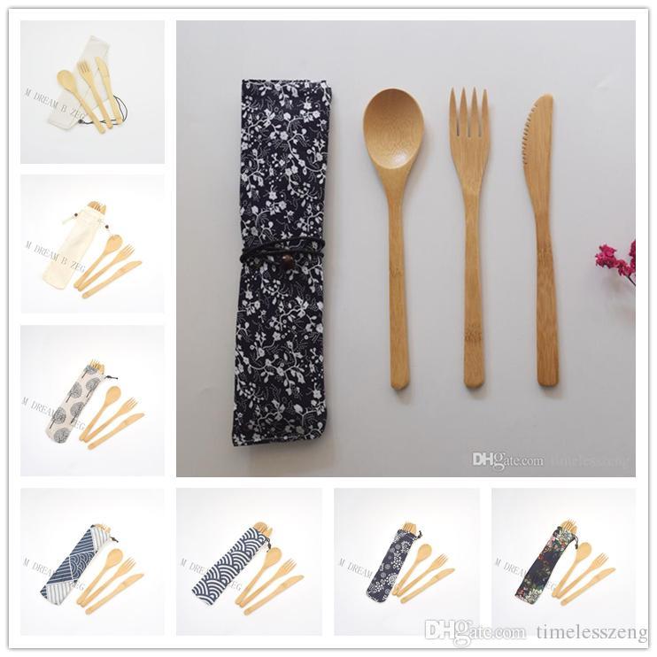 Ecológico Bambú Cubiertos Incluir Cuchillo Tenedor Cuchara Con el bolso del paño de Estudiantes Cubiertos portátil vajilla del viaje de vajilla