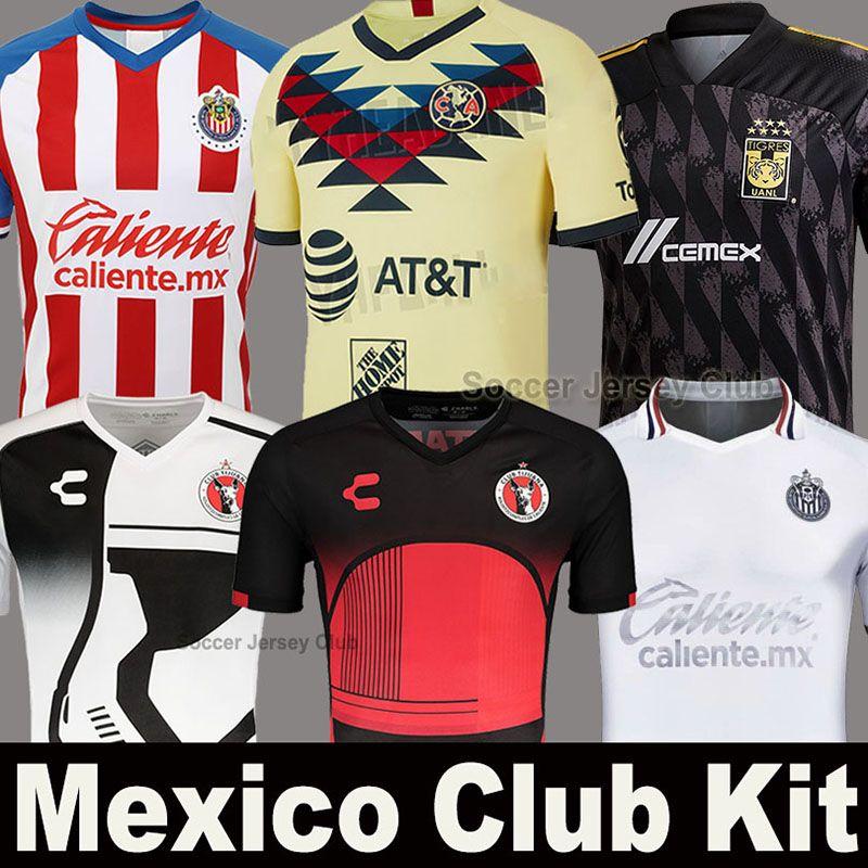 19 20 21 الاسباني MX كلوب أمريكا لكرة القدم جيرسي 2020 2021 UNAM شيفاز غوادالاخارا Xolos تيخوانا Camiseta دجلة الثالث كيت قميص أسود لكرة القدم