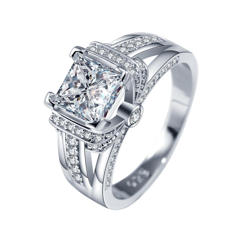 Femmes à la mode anneaux de mariage avec Solitaire Zircon cubique Pierre Prong Réglage Argent plaqué Proposition bagues pour fille