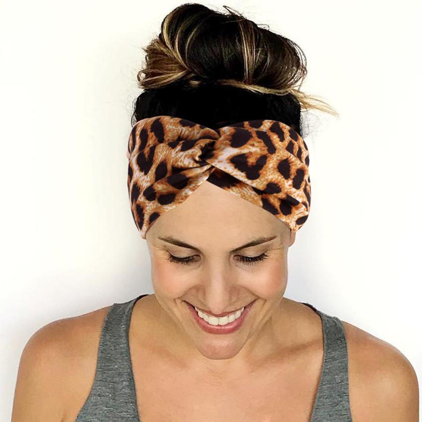 Девочка Leopard Star Флаг оголовье Йога Скрещенные диапазона волос женщин Twist аксессуар для лица Headwrap ткани Мода глава группы