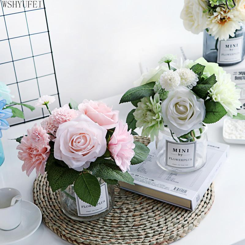 Modern Glass Vase Artificial Flower Ornaments Home Furnishing Crafts Decoration Office Table Bouquets Fake Flower Pot Figurines Dining Table Flower Vases Dining Table Vase From Sakura6 46 72 Dhgate Com