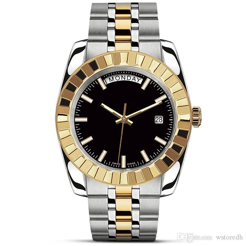 رجل الساعات الفاخرة 41mm الكامل الفولاذ المقاوم للصدأ حزام التلقائي الذهب ووتش حركة ميكانيكية ساعة اليد الأعمال بسيط orologio دي lusso