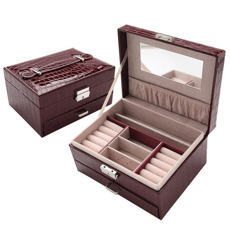 Joyería de la pu de color manija learher organizador caso mujeres cosméticos anillo cajón espejo accesorios caja global enviar regalo de las mujeres