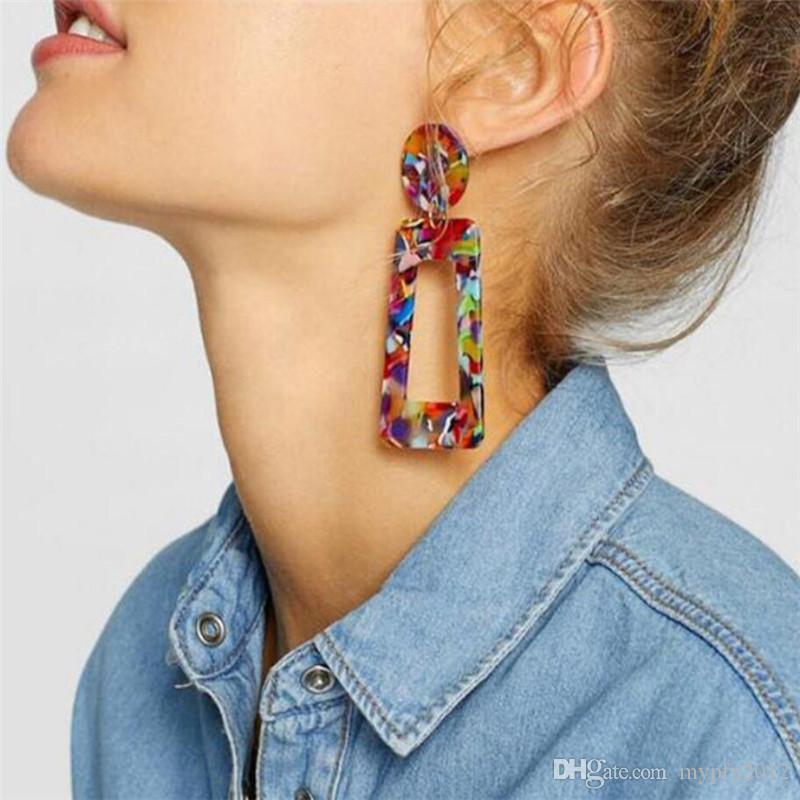 Yeni Bohem Stili Asetat Geometrik Dikdörtgen Damla Küpe Kadınlar Için Moda Reçine Akrilik Düzensiz Dangle Küpe Mix Renkler LX