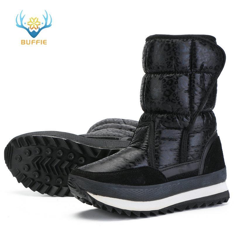 bottes de neige de léopard noir facile mis sur l'utilisation du sans rapport de longue date un usage quotidien pour le bureau ou la marche de travail sur la route en taille réelle belle série