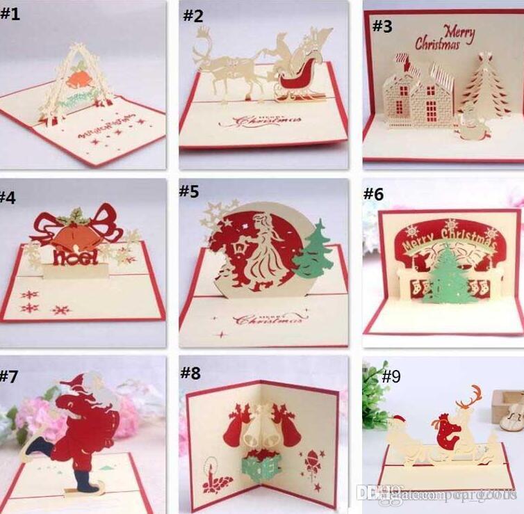 El yapımı Kirigami Origami 3D Pop UP Kart Yaratıcı Merry Christmas GiftGreeting Kartları Noel Hediyesi aile ve arkadaşlar için