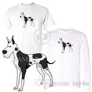 Harlequin Great Dane Dog Breed Cartoon Art Short / Long Sleeve White T Shirt