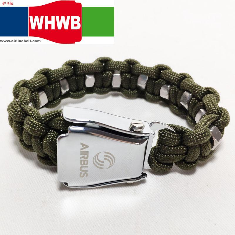 Army green Nut Airbus Boeing airplane belt buckle Survival strap paracord bracelet gear braided umbrella rope kit wristband