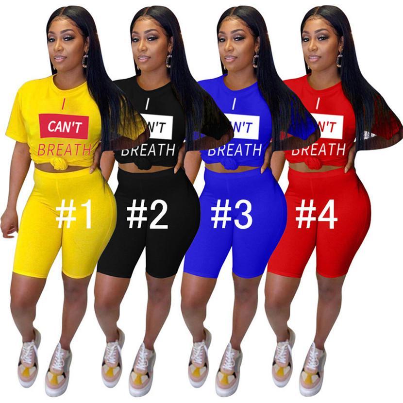 JE RESPIRER Lettres Imprimer Femmes d'été Shorts Set Sweatsuit ras du cou T-shirt Tops Shorts Survêtement deux pièces D61503 Tenue de sport