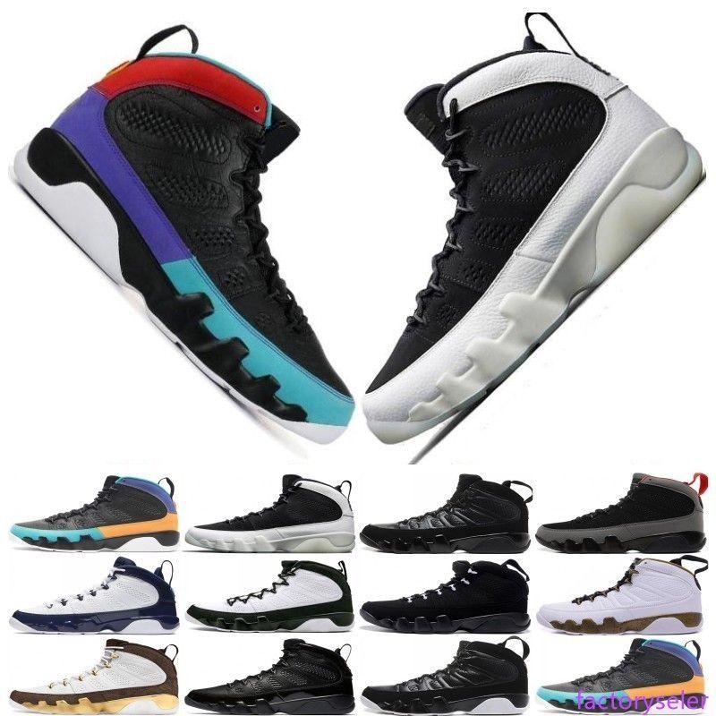 Haute qualité 9 9s Dream It Do It UNC Mop Melo Hommes Basketball Chaussures hommes LA OG Space Jam 2010 Bred taille design de sport de sortie 7-13