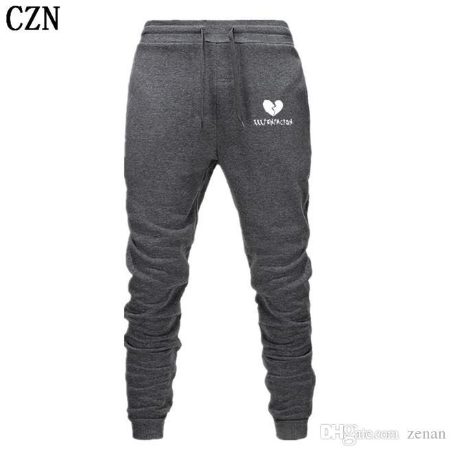 Los hombres de pantalones Streetwear Hip Hop XXXTentacion pantalones casuales hombres de la aptitud Joggers pantalón otoño paño grueso y suave del espesamiento de lazado EL-5