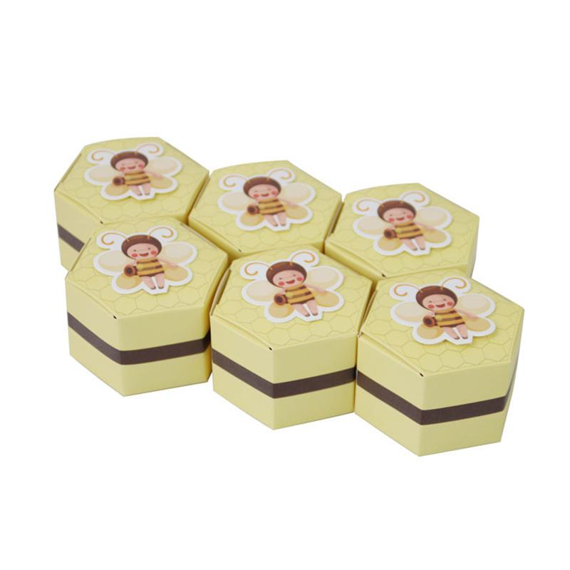 50Pcs European Yellow Bee Favors Hexagon Candy Boxes Baptism Kids Shower Christmas Wedding Birthday Party Chocolate Supplies