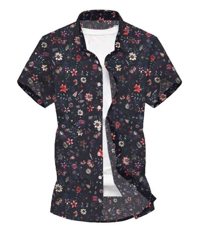 Hommes Chemises Mode Floral Chemises Casual Col manches courtes Turn-Chemises Hommes Printemps Eté Vêtements