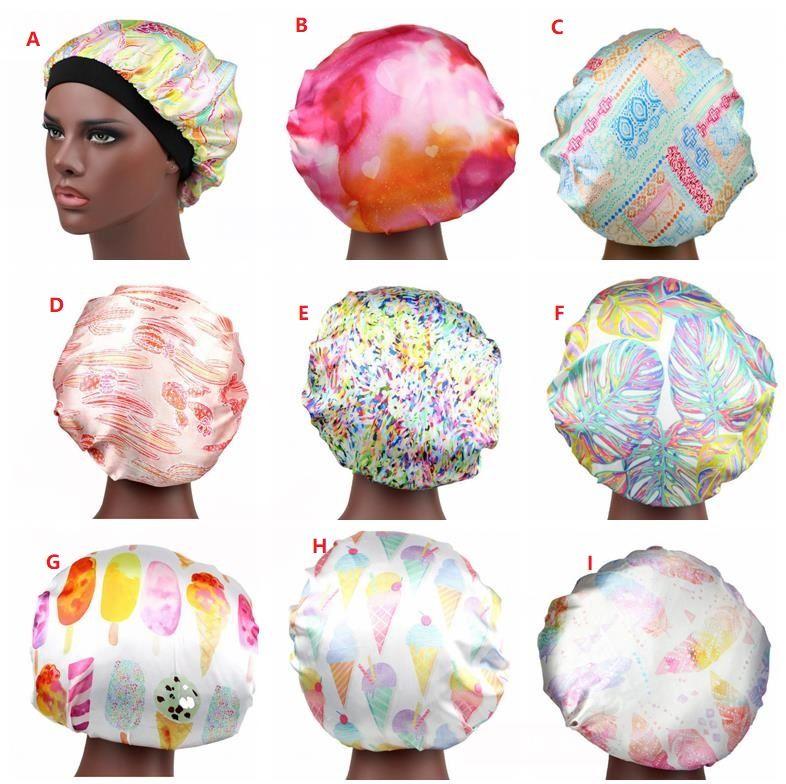Muçulmanas Mulheres Largo Band Stretch Stretch Silk Cetim Bonnet New Design Bandana Dormir Turbante Headwrap Chemo Caps Cabelo Acessórios S023