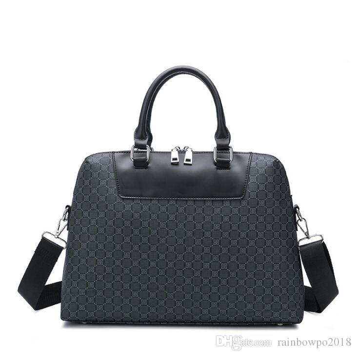 Factory wholesale handbad classic printed men and women business briefcase large capacity leather computer bag fashion contrast leather bag