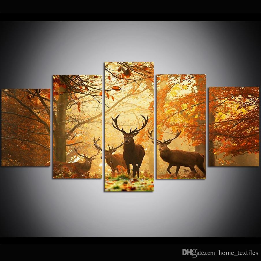 5 Piece Large Size Canvas Wall Art Deer Grass Leaves Autumn Trees Oil Painting Wall Art Pictures for Living Room Paintings Wall Decor