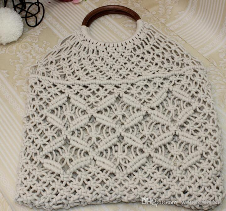 35cmx33cm Beach Bag Women Straw Fish Net Bag handmade Handbag Hollow Reticulate Tote