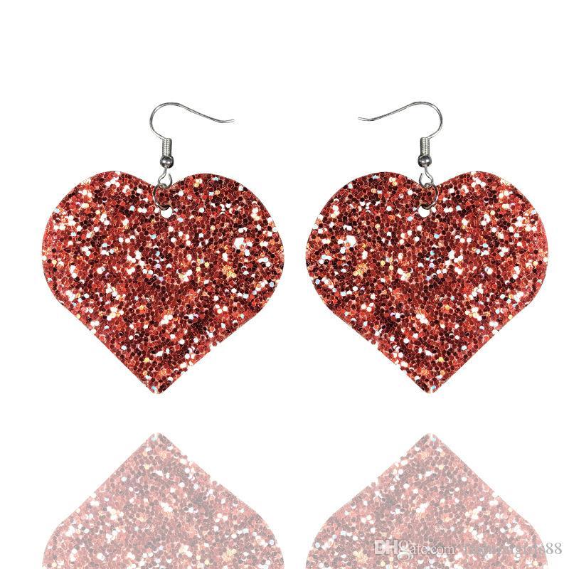 RED LEATHER SEQUIN GLITTER LOVE HEART DANGLE EARRINGS