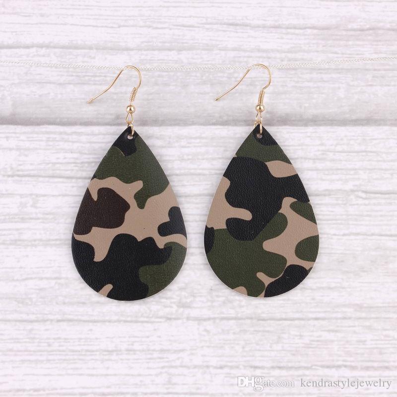 BOHO-Art-Tarnung malte lederne Teardrop-Baumel-Tropfen-Ohrringe für Frauen-Militärleder-Teardrop-Wassertropfen-Ohrringe