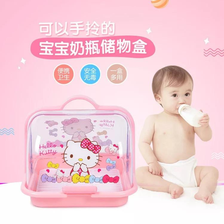 Hello Kitty Cartoon Lovely Baby Tableware Storage Organizer Plastic Container Gift Boxes Box Baby Feeding Bottle Box