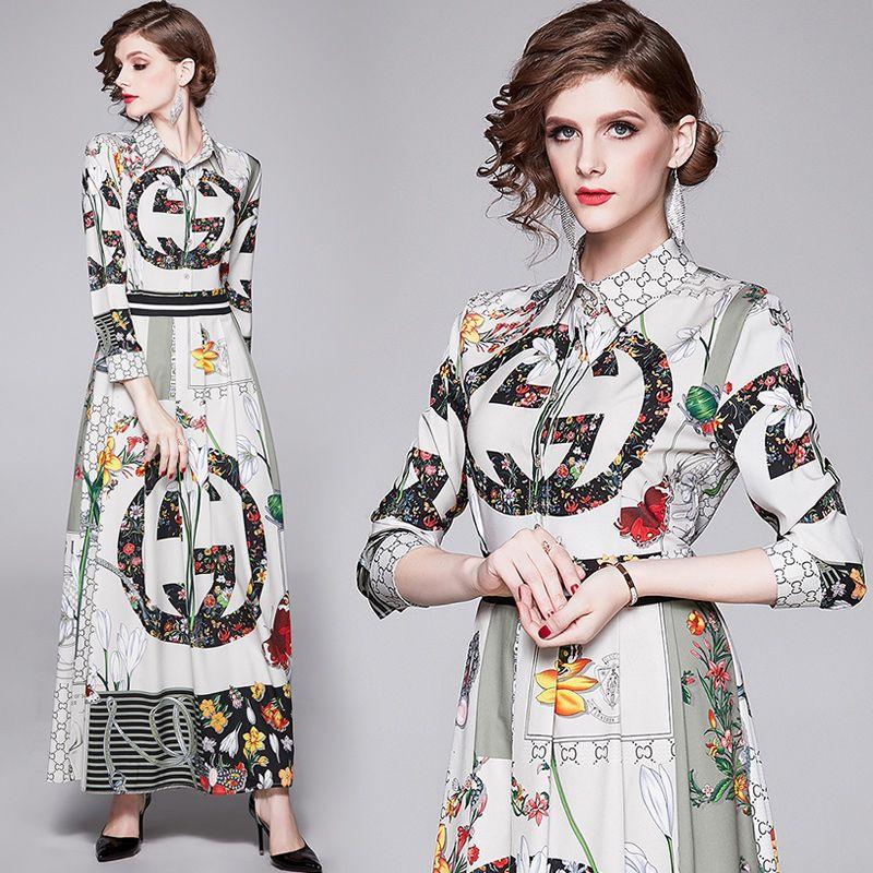 새로운 럭셔리 패션 인쇄 디자이너 드레스 플러스 사이즈 여성 긴 소매 Pleated 숙녀 활주로 드레스 클래식 캐주얼 사무실 셔츠 드레스