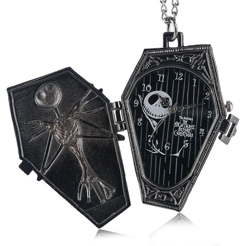 Vintage Gothic The Burton's Nightmare Before Christmas Dial Reloj de bolsillo de cuarzo Colgante Collar Cadena Regalos para hombres Mujeres Niños