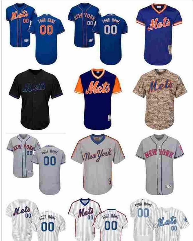 2019 camisas Men personalizado Mulheres crianças newyorkmets Jersey 00 Qualquer Seu nome e seu número de casa Azul Cinzento Branco Crianças Meninas Baseball Jersey